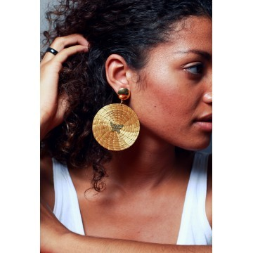 Boucles d'oreilles boule et pierre