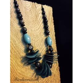 Collier multi tagua turquoise