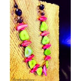 Collier multi fruits rose et vert