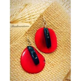 Boucles d'oreilles Pétale Rouge et Plume Bleue