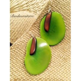 Boucles d'oreilles Pétale Vert et Plume Marron