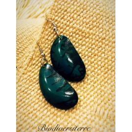 Boucles d'oreilles Demi Graine Vert d'eau