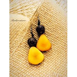 Boucles d'oreilles Fruit Jaune et Perle de Coco