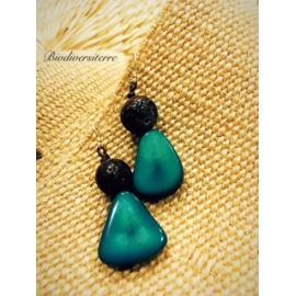 Boucles d'oreilles Fruit Indigo et Perle de Coco