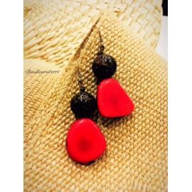 Boucles d'oreilles Fruit Rouge et Perle de Coco