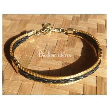 Bracelet double cuir noir