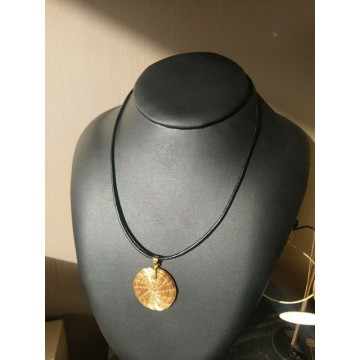collier Mandala 3,5cm sur cuir