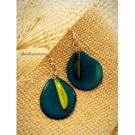 Boucles d'oreilles Pétales Bleus et Plume Verte