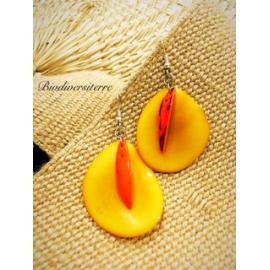Boucles d'oreilles Pétale Jaune et Plume Orange