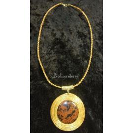 Collier d'Obsidienne Acajou & Capim Dourado
